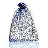 Souarts Organza Sachets Cadeau Bijoux Motif Bleu Royale Lot de 25pcs