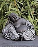 Statue en pierre bouddha, gris ardoise, pierre reconstituée
