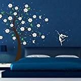 Sticker mural motif arbre fairies fée elfe points baumdeko m1164b cerisier