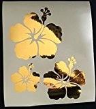 Stickers autocollants 3 fleur d'hibiscus couleur aux choix,voiture,frigo,mur,porte etc... (Doré)