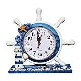 Style méditerranéen Horloge murale décorative, shayson 22,9cm Antique de volant nautique Gouvernail Horloge avec phare beack Voilier Décoration