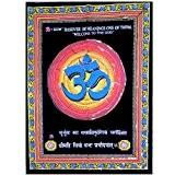 Symbole Om Bleu Fresque murale Tenture 104x78cm peinture sur coton avec paillettes Agra Inde Tenture Accessoire Décoration Maison