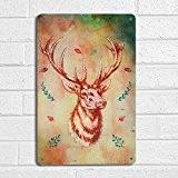 Tête de cerf style vintage rétro en métal imprimé A4Aquarelle Panneau de porte mur Art