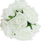 TININNA 10 Bouquets Rose Artificielle Fleur Réel Touch Décoration Fleurs PE Mariage Mariee Blanc