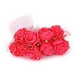 TININNA 144 Bouquets Rose Artificielle Fleur Réel Touch Décoration Fleurs PE Mariage Mariee Rouge