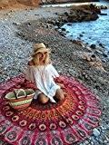 urbancharm- roundie paon Mandala rond rouge indien Tapisserie Couverture de plage hippie Boho Gypsy Serviette de plage Nappe en coton