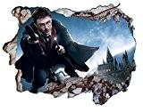 V0104 Sticker mural 3D motif Harry Potter et le château de Poudlard 1 x 0,6m