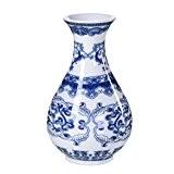 Vase Decoratif Pot de Fleur Interieur Objet d'Art en Porcelaine Bleu et Blanc 9*13,5cm 00C