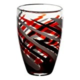 "Vase en verre, Collection ""FLAME"", rouge/gris/noir, 28 cm, fait à main (AMARA DESIGN powered by CRISTALICA)"