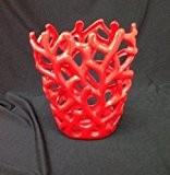 Vase h 23 x 20 cm (vase décoratif moderne en céramique rouge