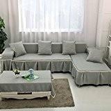 VERCART Housse de Canapé Décoration de la Salon Vert Gris Angle Droite 170x280CM