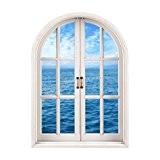 Vovotrade Fenêtre 3D Vue Sur la mer Stickers Muraux Amovible Art Déco Papier Peint Murale