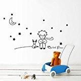 Vovotrade Stars Moon The Little Prince Boy Wall Sticker Home Decor Wall Decals(Noir)