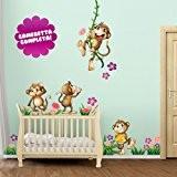 Wall Art r00039Sticker mural pour les enfants schlaue les singes, multicolore, 120x 30x 0,1cm