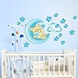 Wall Art r00318Stickers muraux pour enfants, petit ours de bonne nuit de lune, 60x 40x 0,1cm, multicolore/Bleu