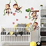 Wall Art r00379Sticker mural pour les enfants, des singes escalade 2, 30x 120x 0,1cm, multicolore