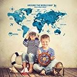 Wallpark Créatif Bleu Origami Carte du monde Amovible Stickers Muraux Autocollants, Salon Enfants Chambre Pépinière DIY Décoratif Adhésif Stickers Mural