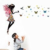 Wallpark Dessin animé Magie Coloré Papillon Fée Fille avec Ailes Amovible Stickers Muraux Autocollants, Enfants Bébé Chambre Pépinière DIY Décoratif ...