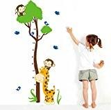 Wallpark Dessin animé Mignon Girafe Oiseaux & Singes Escalade Arbre Croissance Hauteur Toise Amovible Stickers Muraux Autocollants, Enfants Bébé Chambre ...