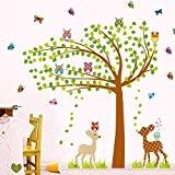 Wallpark Grand Vert Arbre Mignon Hiboux Papillons Cerfs Amovible Stickers Muraux Autocollants, Enfants Bébé Chambre Pépinière DIY Décoratif Adhésif Stickers ...