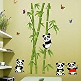 Wallpark Mignon Pandas Bambou Papillons Amovible Stickers Muraux Autocollants, Enfants Bébé Chambre Pépinière DIY Décoratif Adhésif Stickers Mural