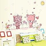 Wallpark Rose Dessin animé Mignon Peu Ours Couple Fleurs Amovible Stickers Muraux Autocollants, Enfants Bébé Chambre Pépinière DIY Décoratif Adhésif ...