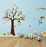 Wallpark XLarge Gros Arbre Jouant Animaux Amovible Stickers Muraux Autocollants, Oiseaux Papillons avec Mignon Écureuils Hiboux Vilain Singes, Enfants Bébé ...