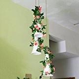 WINOMO 2pcs artificiel Rose fleur soie rotin Simulation lierre vigne guirlande mariage partie Maison décor (rose)