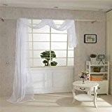 WINOMO Rideau voilages rideaux panneaux traitement fenêtre Rideau Voile foulard (blanc)
