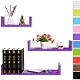 WOLTU RG9239dla Lot de 3 étagères murale en bois,étagère CD,étagère CD DVD murale,Violet Foncé