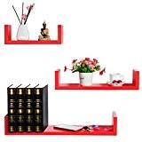WOLTU RG9239rt Lot de 3 étagères murale en bois,étagère CD,étagère CD DVD murale,Pastèque Rouge