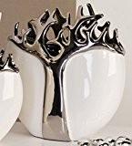 XXL arbre-vase en céramique blanc/argenté dotés d'un arbre-design imperméable diamètre/hauteur: 27 cm-largeur: ouverture ovale: 11 cm