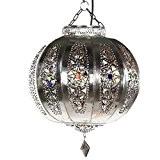 Yali lanterne orientale lampe argent 26 cm marocain orientleuchte arabes lampe suspension