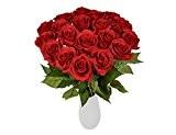 Yidarton 10 Bouquet de Fleurs Artificielles Roses PU Réel Tactile Pour Saint Valentin, Fête des Mères, Noël, Anniversaire, Mariage Decoration ...