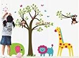 yYouran Cartoon Grand e sticker mural repositionnable Coloré Fleur Coloré Sticker mural ticker mural Motif arbre et animaux de la ...