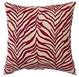 Zaida Housse de coussin 45 x 45 cm Coussin en laine et coton Motif zèbre Rouge/Beige