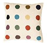 Zaida Housse de coussin 60 x 60 cm (laine et coton Motif pois multicolores sur fond blanc
