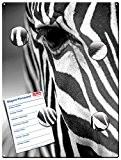 Zèbre - Tableau magnétique métal au design en noir et blanc - 30x40 cm - Tableau aide-mémoire magnétique avec motif: ...