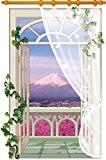 zooarts 3D Fenêtre Paysage Mont Fuji écrans vertical Fleurs Sticker mural autocollant amovible Stickers Décoration en vinyle Papier peint