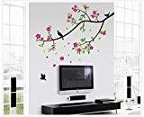zooarts Fleurs Oiseaux sur les branches amovible Espace Chambre Chambre Sticker mural 3D Décoration en vinyle Papier peint