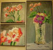 tableau fleurs fleurs oeillets vase nature morte : zoom sur oeillets