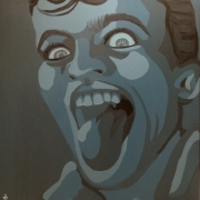 tableau personnages peinture sur toile acrylique visage langue camaieu : Bouche 2
