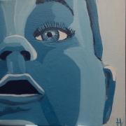tableau personnages peinture sur toile acrylique camaieu bleu : Bébé