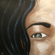tableau personnages peinture sur toile acrylique visage : Yin Yang ou la femme