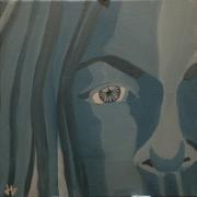 tableau personnages peinture sur toile acrylique camaieu visage : Femme 2