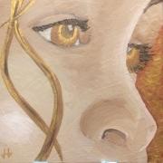 tableau personnages enfants acrylique image biblique doree zoom : L'enfant