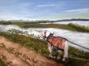tableau scene de genre pyrenees vignoble cheval trait : Force tranquille