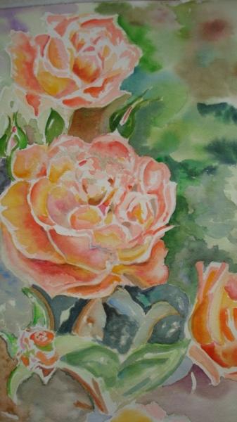 TABLEAU PEINTURE roses aquarelle Fleurs Aquarelle  - les roses du jardin