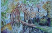 tableau paysages canal mehun paysage automne : bord du canal en automne