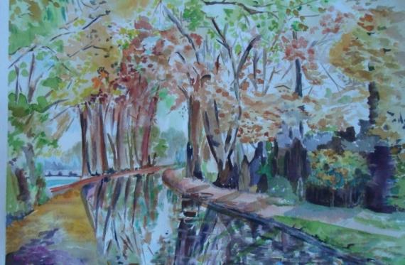 TABLEAU PEINTURE canal Mehun paysage automne Paysages Aquarelle  - bord du canal en automne